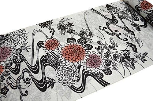 象後悔想起京友禅手捺染 浴衣 反物 乱紅梅 高級ゆかた 菊に波 白 女性 kimono-yukata-066