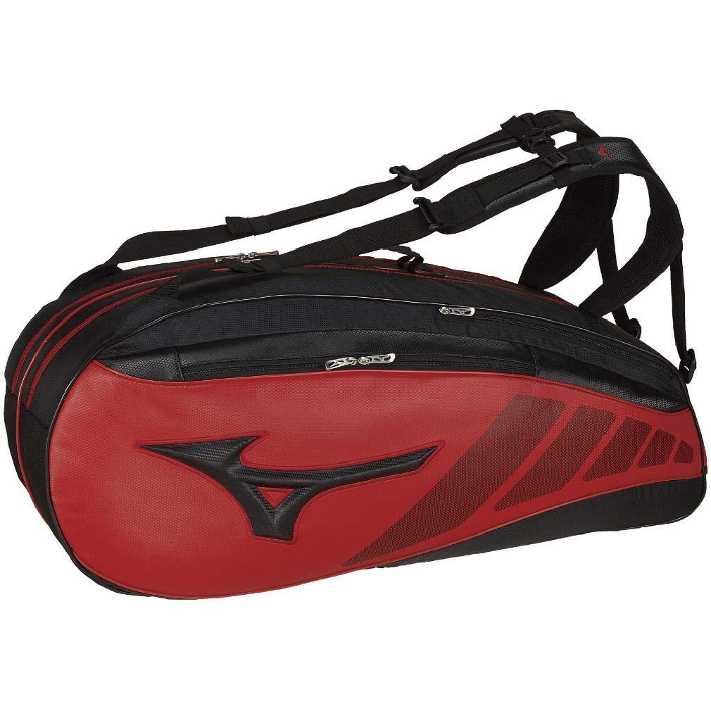 MIZUNO(ミズノ) 硬式テニス ラケットバッグ(6本入れ) 63JD950196 96:ブラック×レッド 63JD9501 96:ブラック×レッド B07S6CMDP7