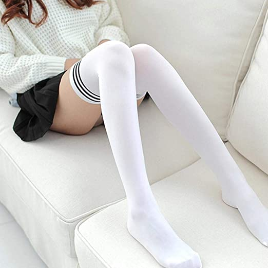 Amazon.com: BCDshop Womens Teen Girls Long Striped Socks Fashion Knee Thigh High Socks Stocking (Black): Clothing