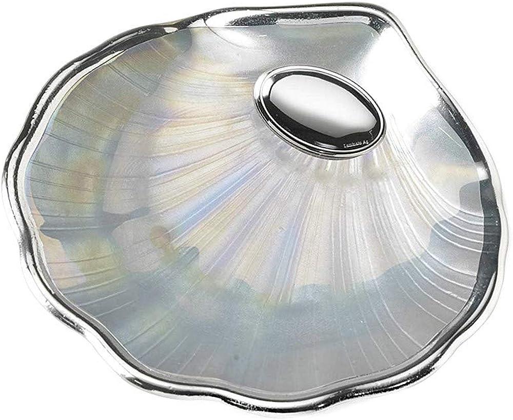 Concha Bautismo bilaminada plata Ley 925m color nacarado trasera plateada