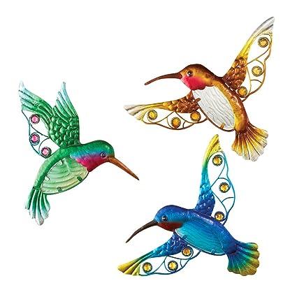 Amazon.com : Glass Hummingbirds Indoor & Outdoor Wall Art Decoration ...