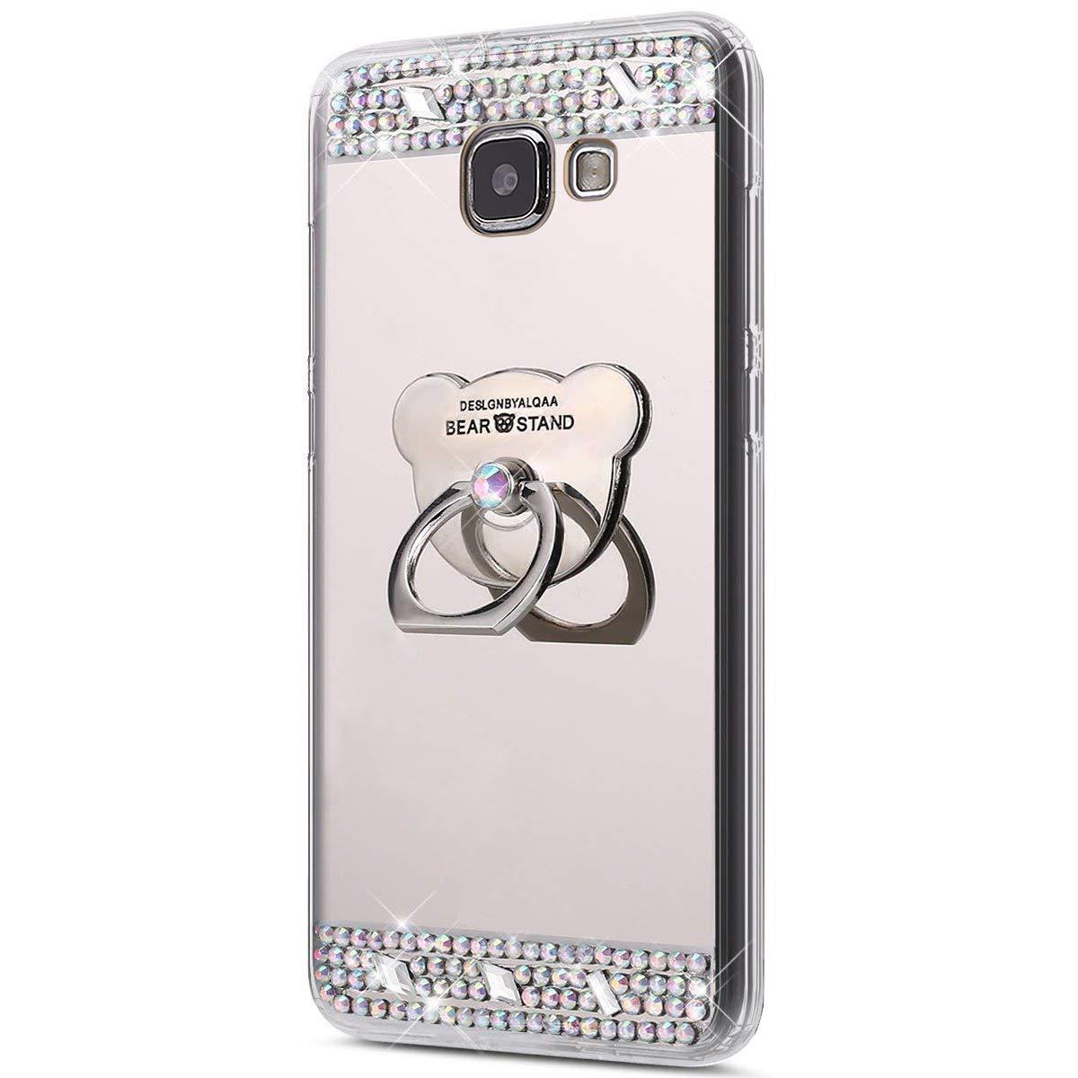 SainCat Ultra Slim Morbido Specchio Silicone Bling Glitter Strass Anti-Scratch Supporto Anello Cover Compatibile con Samsung Galaxy A7 2016-Oro Sundayther