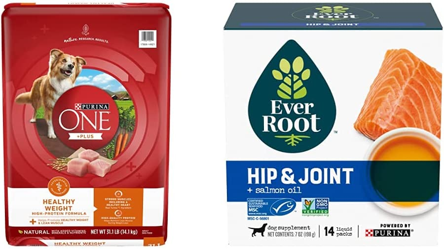 Purina ONE SmartBlend Weight Control Dry Dog Food and EverRoot Hip and Joint Dog Supplements Bundle Pack