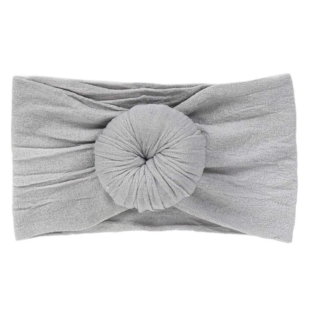 1PC Solid Color Circle Non Slip Baby Girl Elastic Headband Turban Cute Baby Stretch Hairband