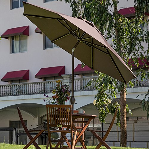 9 ft outdoor patio market table umbrella with auto tilt for Patio table umbrella 6 foot
