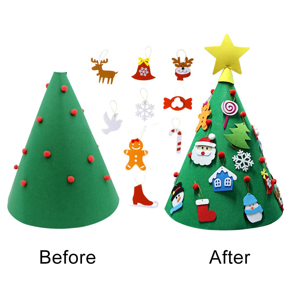 Amazon.com: PartyTalk 3D DIY Felt Christmas Tree Toddler Friendly ...