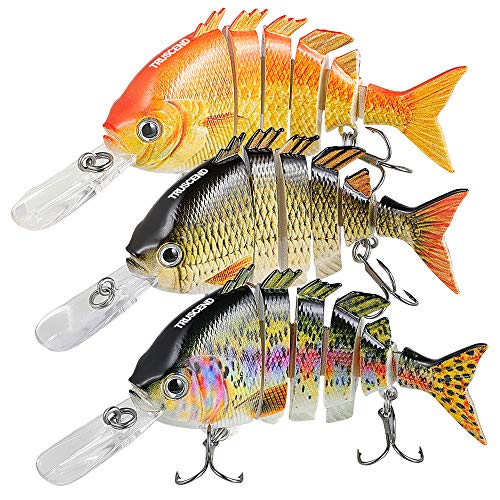 (TRUSCEND Fishing Bass Lures Multi Jointed Topwater Life-Like Trout Swimbait Hard CrankBaits)