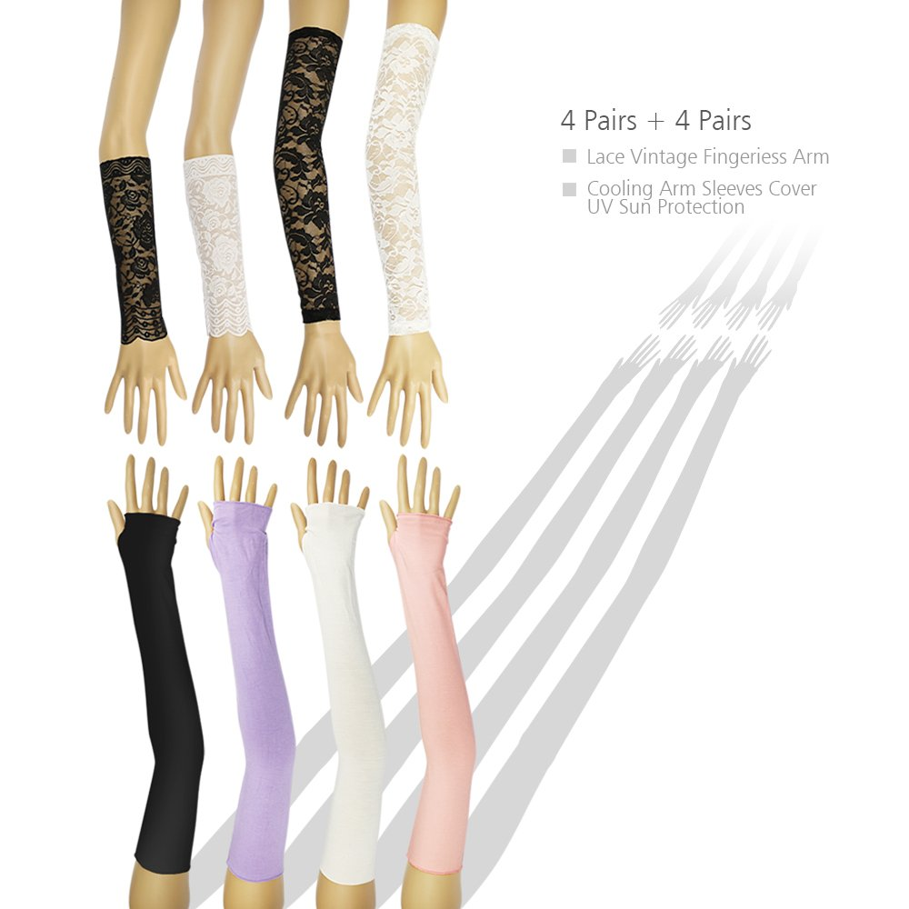 CS-2030 4 Pairs Lace Vintage Fingerless Arm + 4 Pairs Cooling Arm Sleeves Cover UV Sun Protection