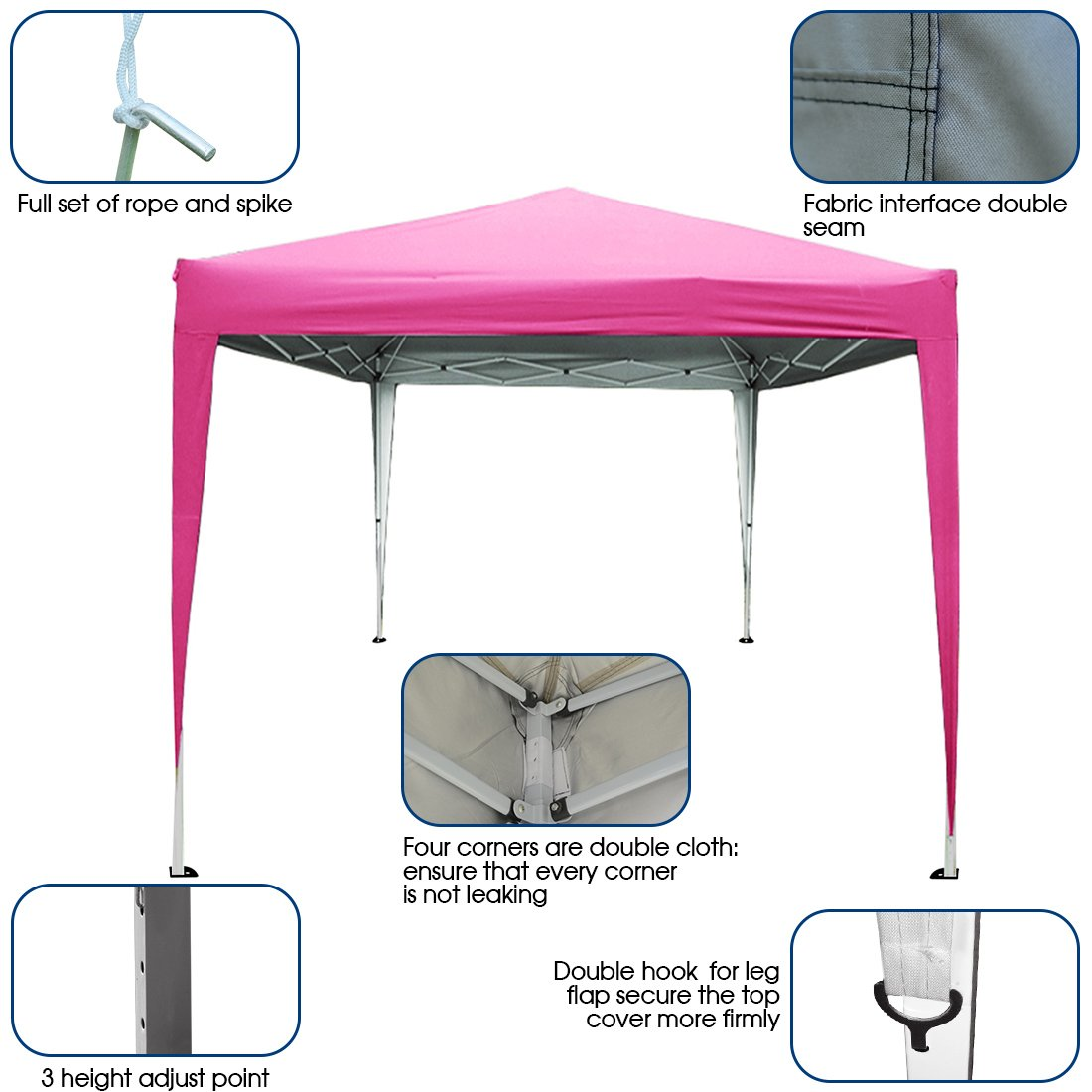 PeakTop 10 x10 Feet EZ Pop Up Canopy Gazebo Party Tent Instant Folding Commercial Tent Beach Sun Shade Carry Bag 100% Waterproof-5 Colors (Pink) by PeakTop (Image #2)