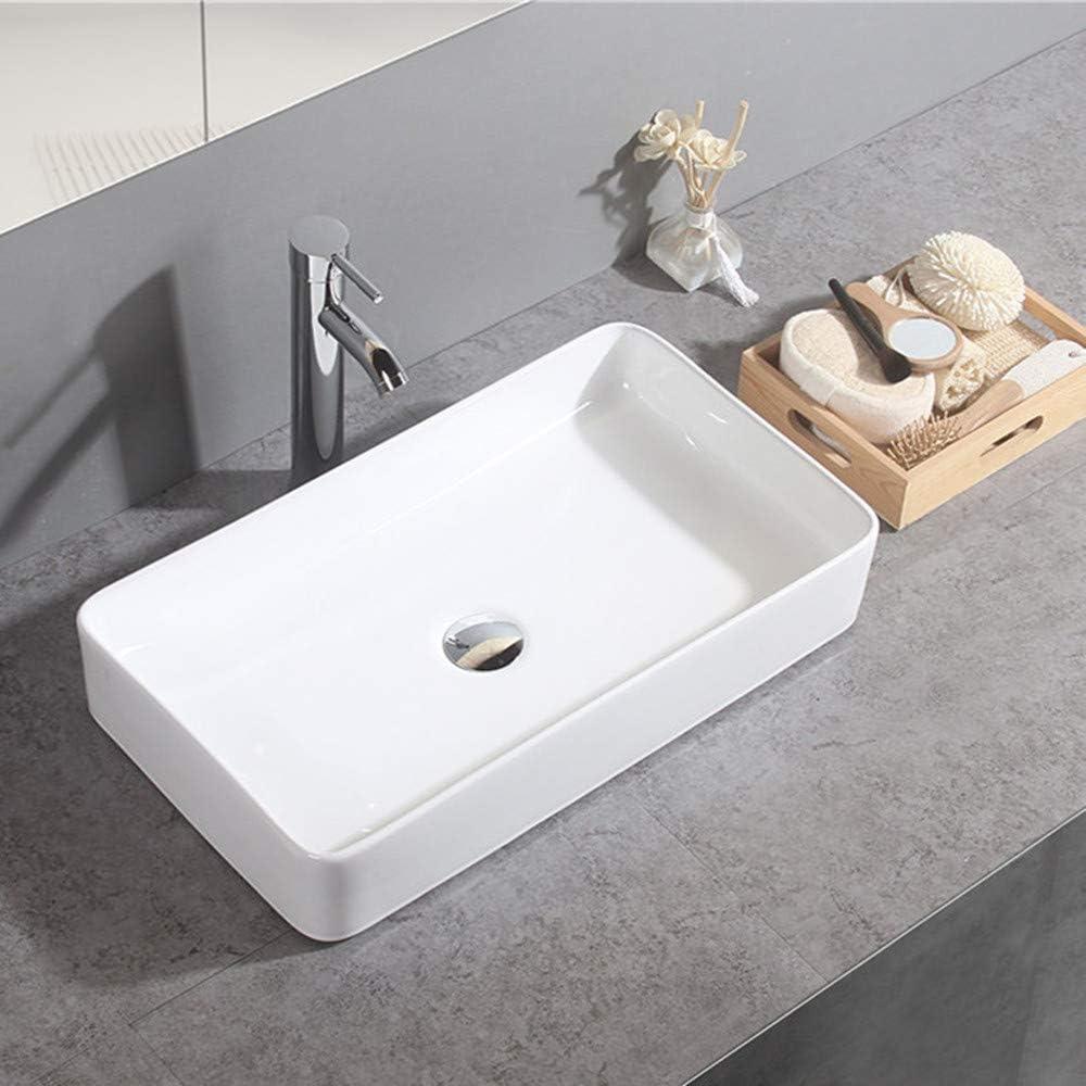 Gimify Contemporary Wash Basin Countertop Basin Sink for Cloakroom Bathroom, Rectangular 60x34x10.5cm