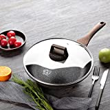 KI 10''(26cm) Induction Frying Pan With Glass Lid, Stone&Ceramic Non-Stick Aluminum Cookware Omelette Fry Pan 5 Coatings Cookware (PFOA Free), 1 Year Warranty