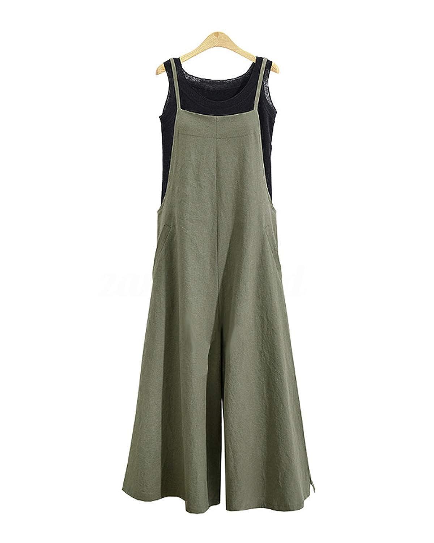 a653b9f3c298 GZBQ Women Baggy Adjustable Strap Sleeveless Linen Overalls Jumpsuit ...
