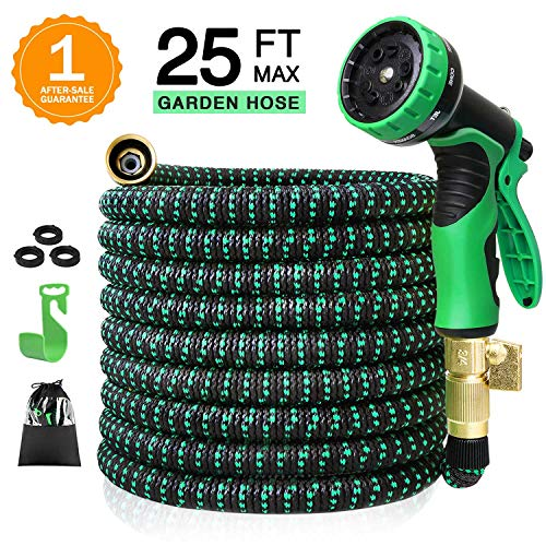 25ft Expandable Garden Hose, Flex Hose with 9 Spray Nozzle, Garden Hose with 3/4″ Heavy Duty Brass Connectors, No Kink Garden Hose and No-Leak Best Water Hose