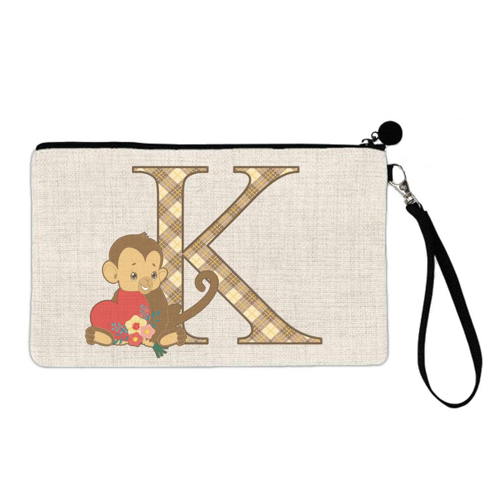 BRGiftShop Cute Brown Monkey Valentine Monogram Letter K Large Linen Cosmetic Bag with Zipper