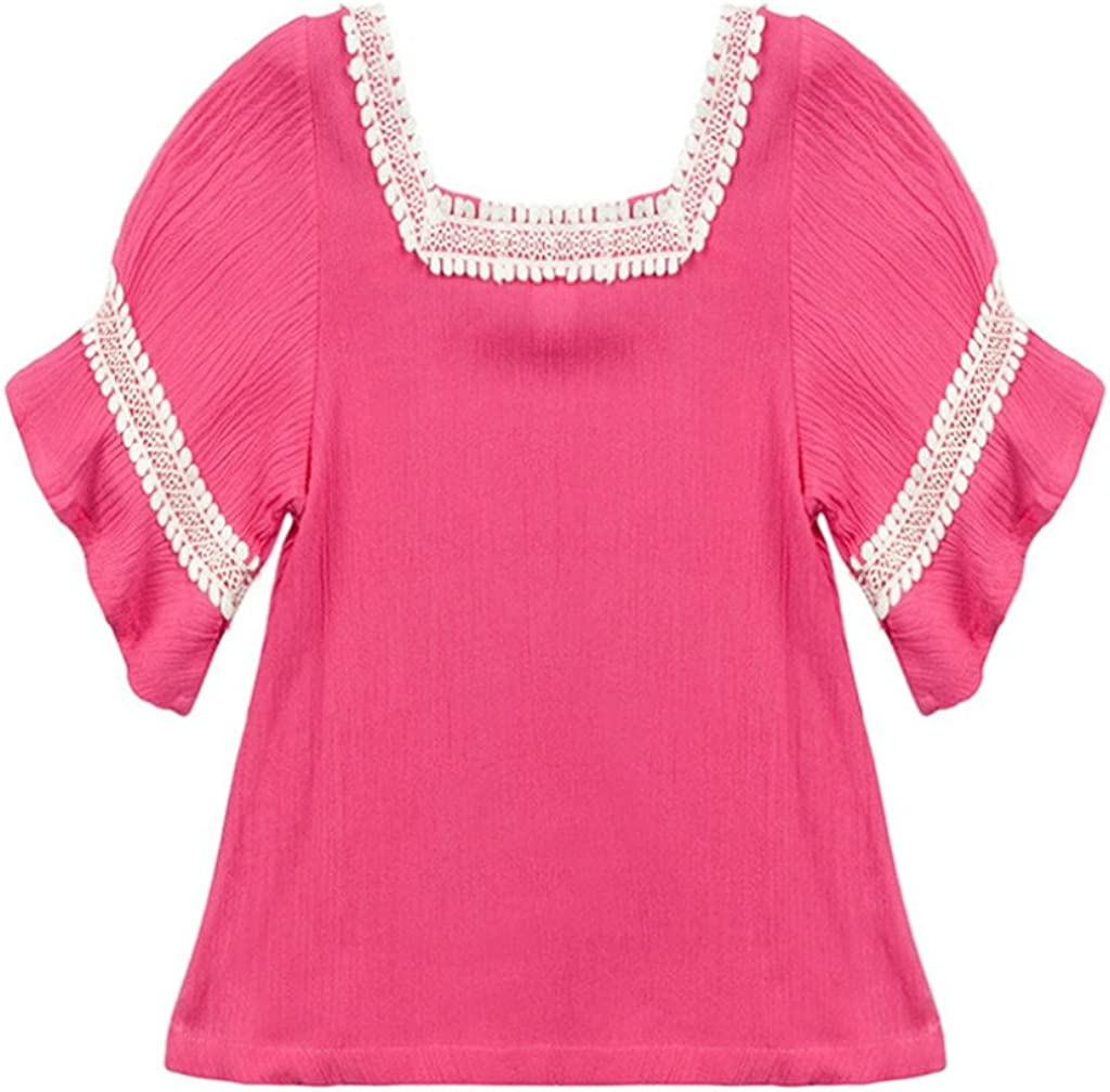 COMVIP Girls Half Sleeve Lace Embroidery Summer Outdoor T-shirt Rose