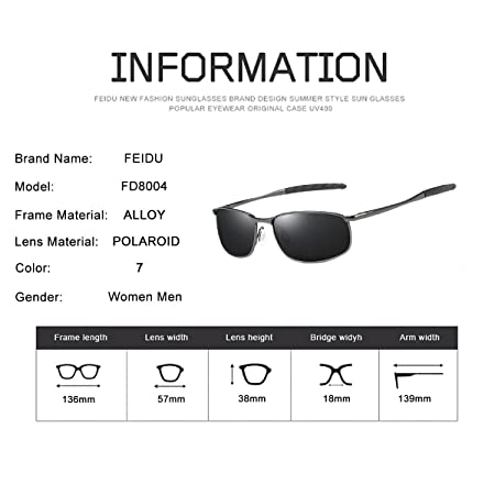 Amazon.com: FEIDU Sport Polarized Sunglasses for Men Stylish HD Lens Metal Frame Mens Sunglasses FD 9005 (Black/Gun, 2.24): Home & Kitchen