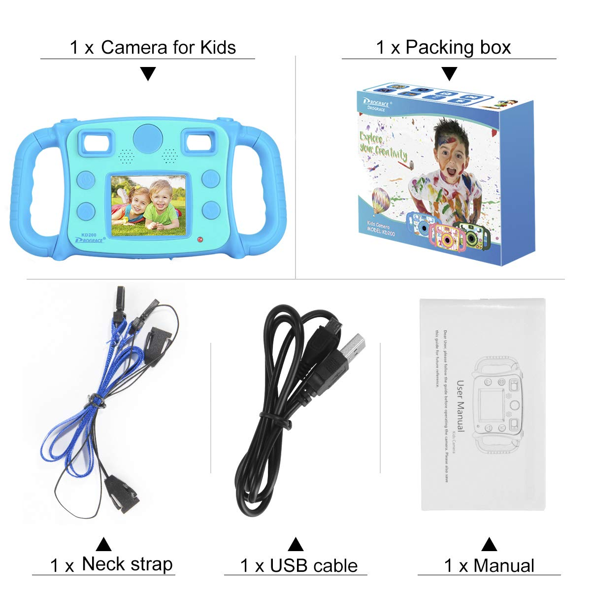 Drograce KD200 Kids Camera Creative Camera 1080P HD Video Recorder Digital Action Camera Camcorder for Boys Girls Gifts 2.0\