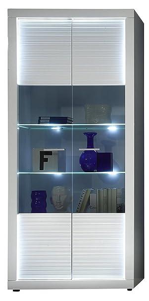trendteam Wohnzimmer Vitrine Schrank Wohnzimmerschrank Starlight, 90 x 204  x 41 cm in Korpus Weiß, Front Weiß Hochglanz mit Rillenoptik mit LED ...