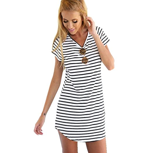 new arrival 2019 original enjoy big discount Makulas Women Mini T-Shirt Dresses Striped Round Neck Short Sleeve Casual  Dress Summer Beach Tunic Dress