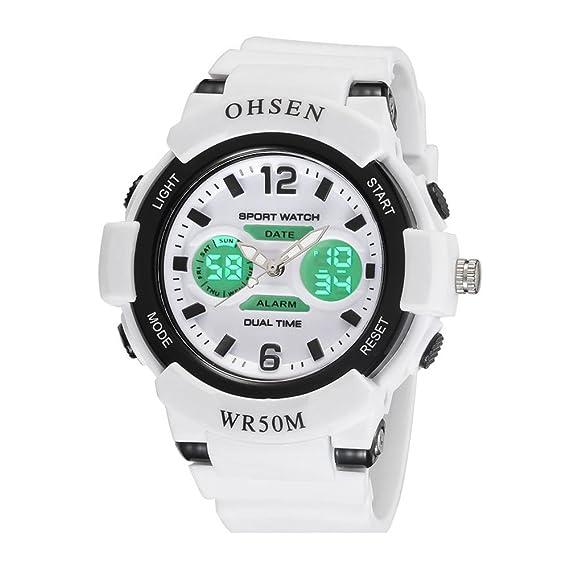 relojes digitales de moda fresco del deporte al aire libre para adolescentes llevado de múltiples correa de caucho con luz blanca: Amazon.es: Relojes