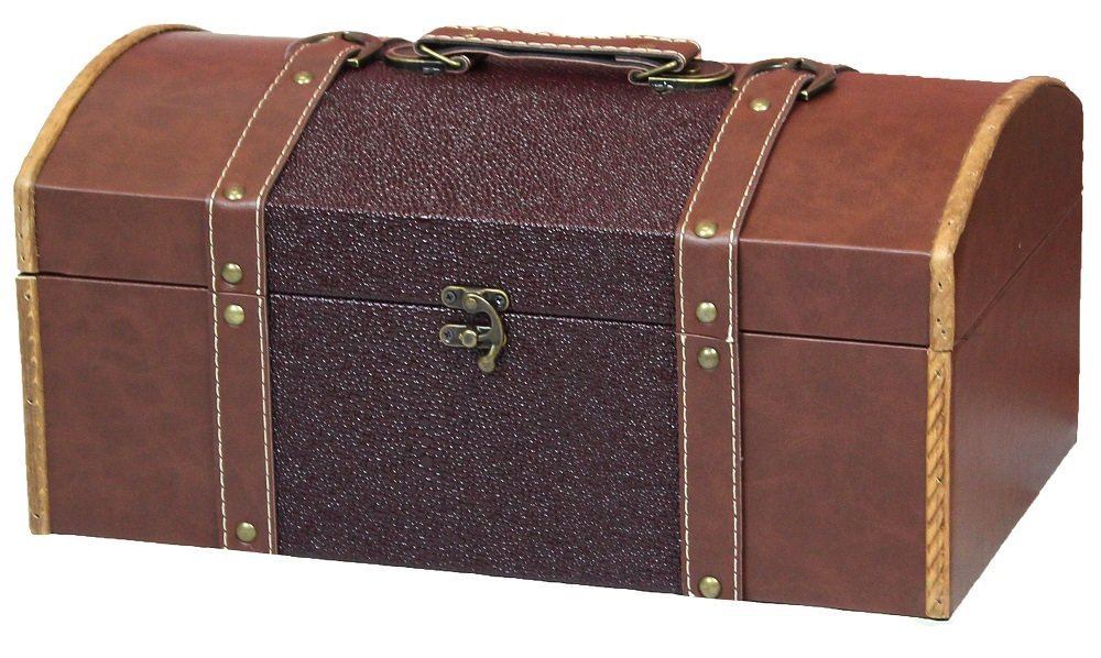 Vintiquewise TM 15 Inch Leather Trunk, Designer Treasure Chest (Cardinal)