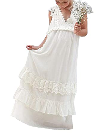423ee14bcb Amazon.com  Portsvy Girl s Chiffon Lace Summer Beach Wedding Party  Bridesmaid Flower Girl Dress  Clothing