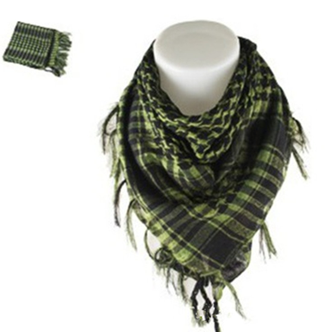 Lovelyee 100% Cotton Military Shemagh Tactical Desert Keffiyeh Head Neck Scarf Arab Wrap (Amry Green)