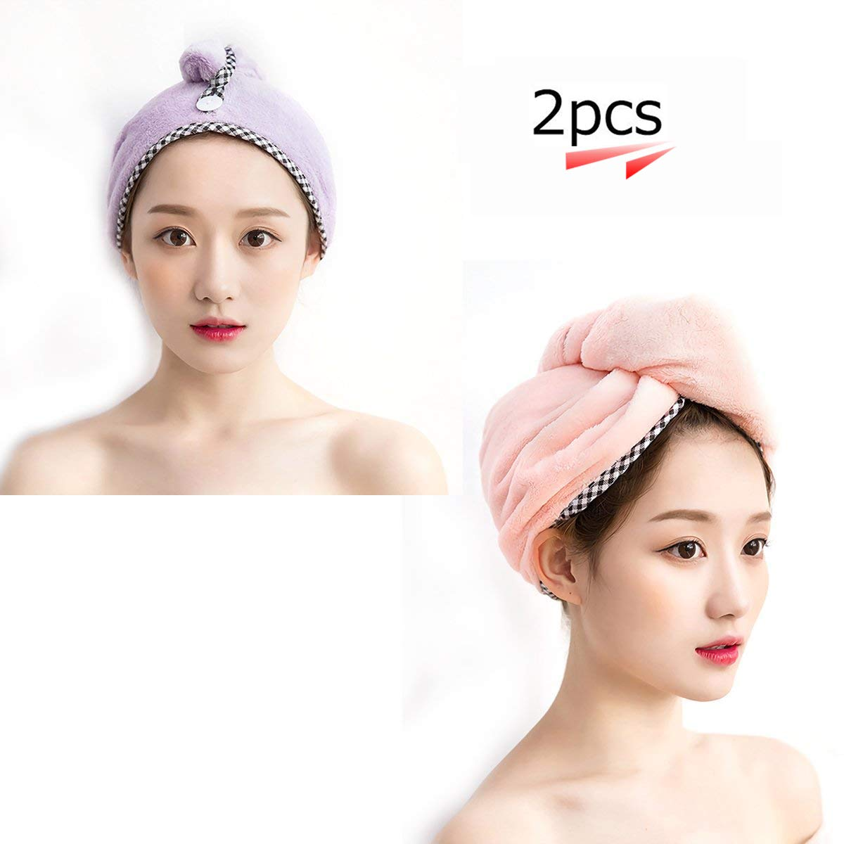 Hair Drying Towels Hair Wrap Turban Water-Absorbent Microfiber Quick Drying Bath Shower Head Towel for Women (2pcs, Purple/Pink) Suces
