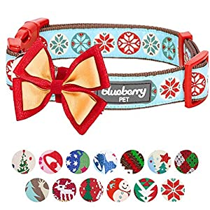 """Blueberry Pet 14 Patterns Moments of Joy Vintage Snowflakes Christmas Designer Dog Collar, Large, Neck 18""""-26"""", Adjustable Collars for Dogs"""