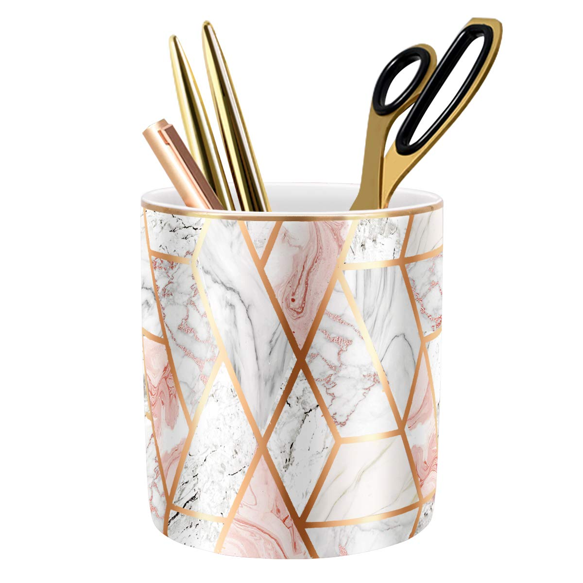WAVEYU Pen Holder for Desk, Pencil Cup for Desk, Durable Ceramic Desk Organizer Makeup Brush Holder Golden Marble Design Pencil Holder Ideal Gift for Office, Classroom, Marble