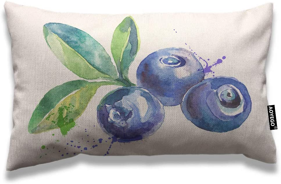 AOYEGO Blueberry Throw Pillow Cover 12x20 Inch Nature Watercolor Painting Fruit Berries Green Leaves Rectangle Pillow Cases Home Decorative Cotton Linen Cushion Cover for Bed Sofa