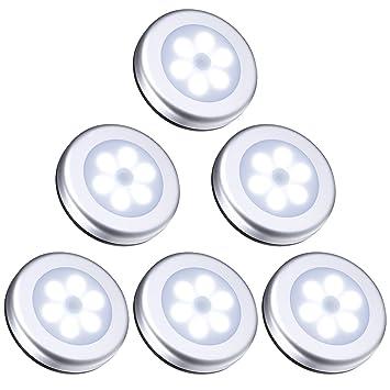 ORIA Nachtlicht mit Bewegungsmelder, 6 LED Bewegungsmelder Licht Schranklicht, Indoor NachtLicht Schrankbeleuchtung, Auto EIN