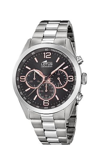 Lotus Watches Reloj Cronógrafo para Hombre de Cuarzo con Correa en Acero Inoxidable 18152/8