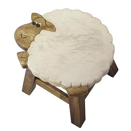 Kids Wooden Animal Foot Stool   Sheep