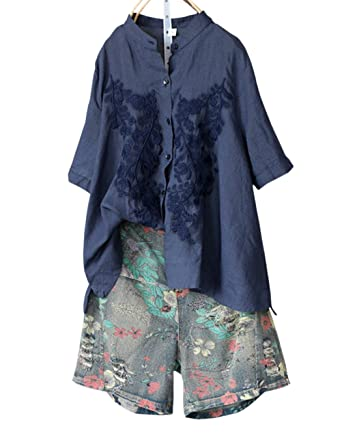 3b34c9cb6b IXIMO Women s Short Sleeve A Linen Blouses with Floral Embroidery Stand  Collar Cotton Linen Button Down Shirts Tops Blue at Amazon Women s Clothing  store