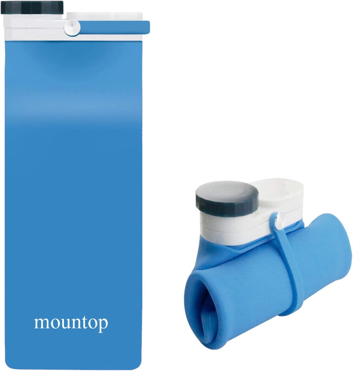 mountop Collapsible Water Bottle, Portable Food Grade Silicone Foldable Travel Reusable Leak Proof Water Bottles for Traveling Running Fitness BPA Free, 20oz, Dark Blue