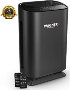 WAGNER Switzerland Air Purifier WA888 HEPA-13 Medical Grade Filter, Particle Sensor for 500 sq.ft. Rooms. Removes Mold, Odors, Smoke, Allergens, Germs and Pet Dander, etc..(Black)
