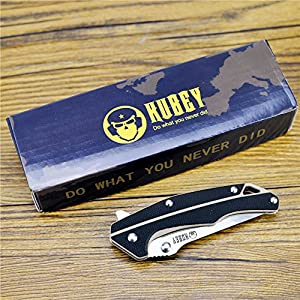 KUBEY Mini Tactical Pocket Knife with Clip,Stainless Steel Blade,Black G10 Handle,Liner Lock,3-2/3-Inch Closed