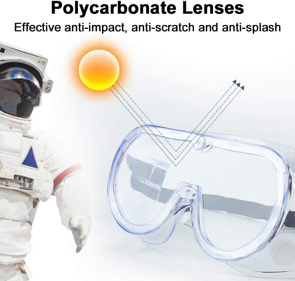 40 PCS Splash Proof Safety Goggles Bulk Soft Frame Anti Fog Adjustable Strap Clear Fully Enclosed Eye Protection Goggles Over Glasses for Outdoor Courtyard Lab