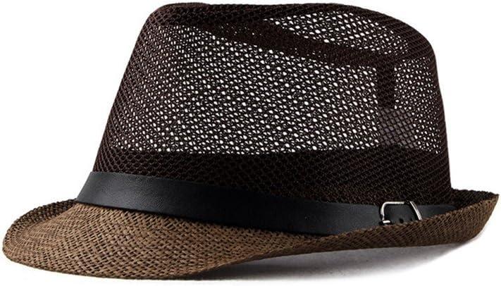 56-58cm Beige Qinlee Jazz Cappello di paglia cappello tessuto stile sole cappello Tinta Unita di paglia cappello protezione sole estivo cappelli unisex per attivit/à outdoor spiaggia Paglia