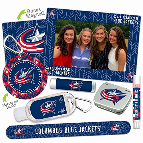Columbus Blue Jackets—DELUXE Variety Set (Nail File, Mint Tin, Mini Mirror, Magnet Frame, Lip Shimmer, Lip Balm, Sanitizer). NHL gifts, stocking stuffers. Only from - Columbus Stores