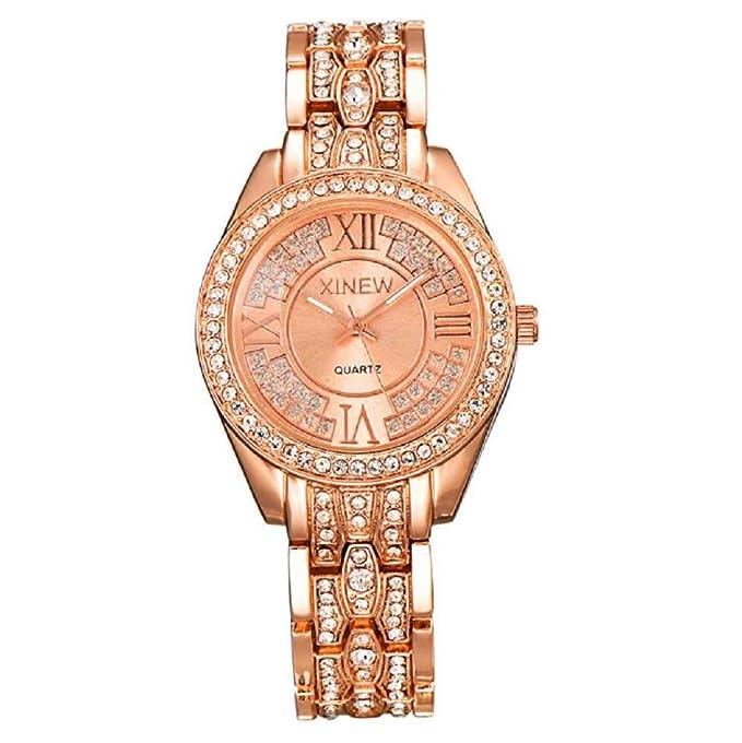 WSSVAN Reloj de Cuarzo simulado con Diamantes de Acero Inoxidable ...