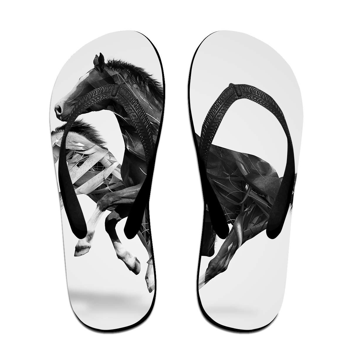 Couple Slipper Horse Artist Print Flip Flops Unisex Chic Sandals Rubber Non-Slip House Thong Slippers