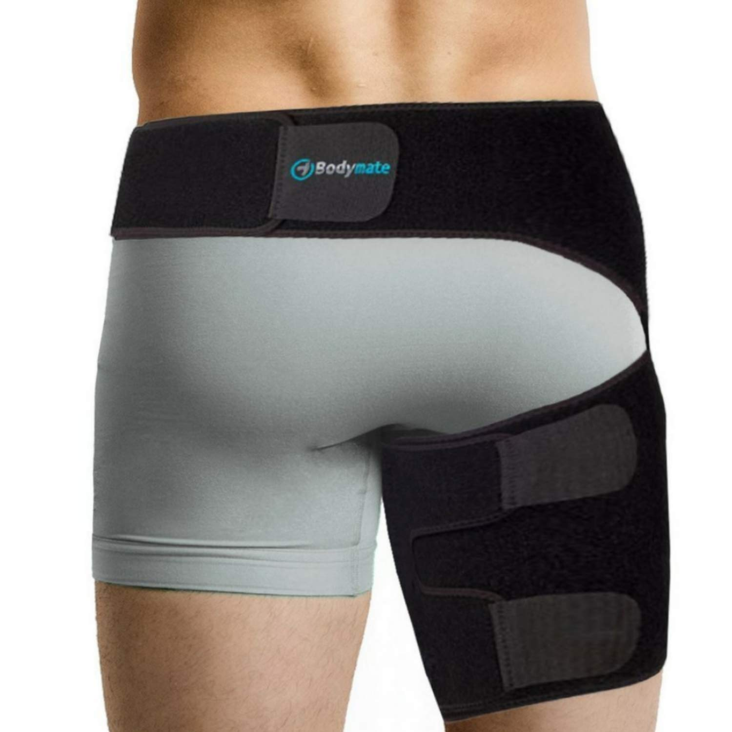 BODYMATE Compression Wrap for Groin Hip Thigh Quad Hamstring Joints Sciatica Nerve Pain Relief Strap (Small, Black)