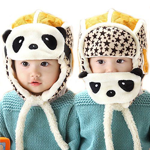 Happy Will Children Fleece Wool Winter Warm Hat with Panda Wind Mask an Ear Muffs for Kids Costume(Yellow) (Panda Wool)