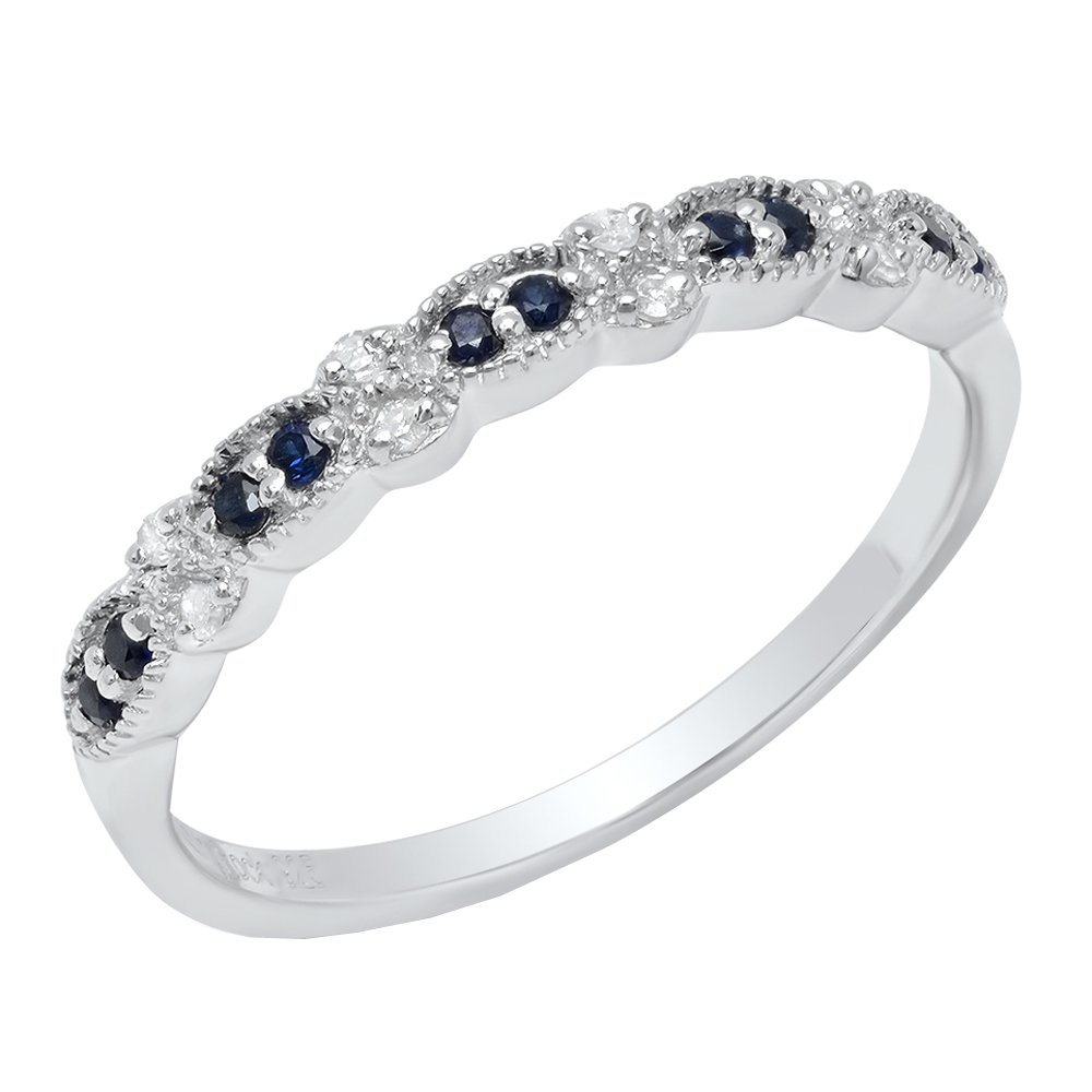 Sterling Silver Round Blue Sapphire & White Diamond Ladies Wedding Band (Size 7)
