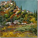 ''Fall in Tuscany'' by Ginger Cook - Artwork On Tile Ceramic Mural 17'' x 17'' Kitchen Shower Backsplash