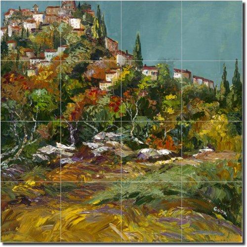 ''Fall in Tuscany'' by Ginger Cook - Artwork On Tile Ceramic Mural 17'' x 17'' Kitchen Shower Backsplash