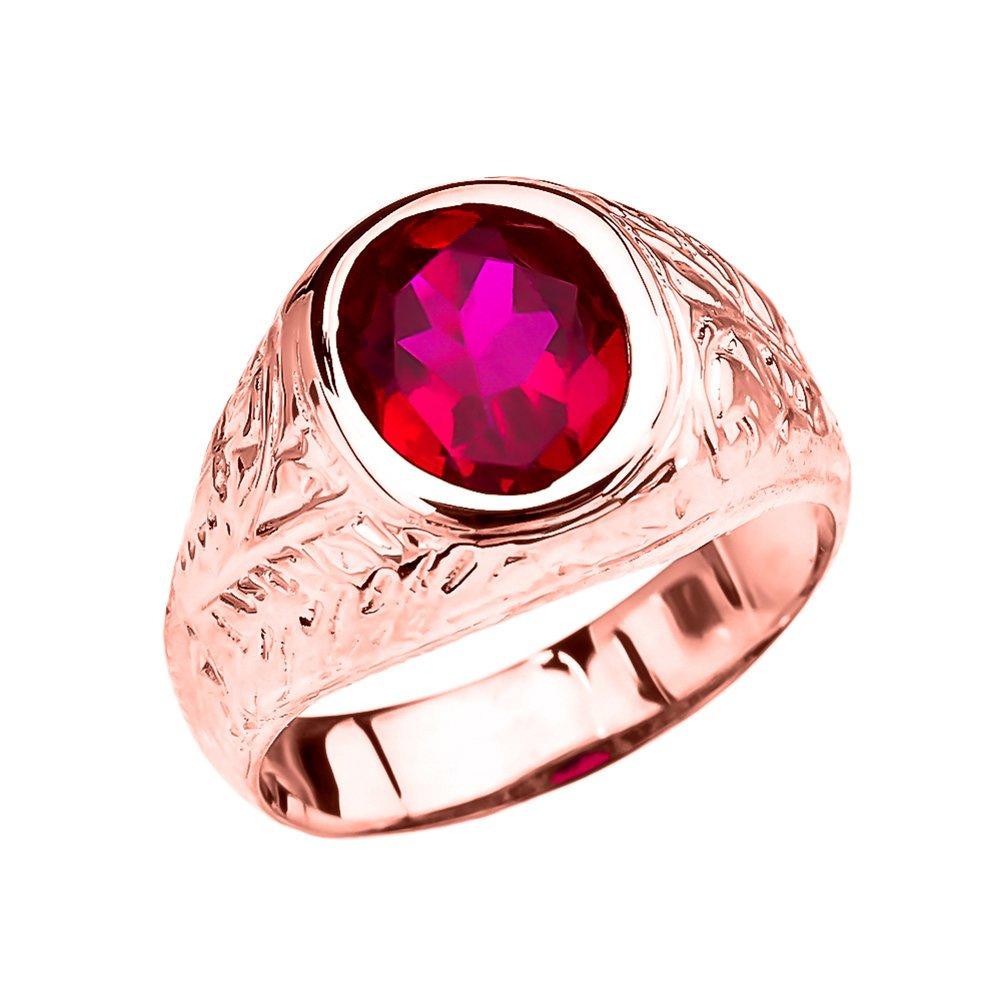 Men's Fancy 10k Rose Gold Engraved Design Red CZ Solitaire Ring (Size 13)