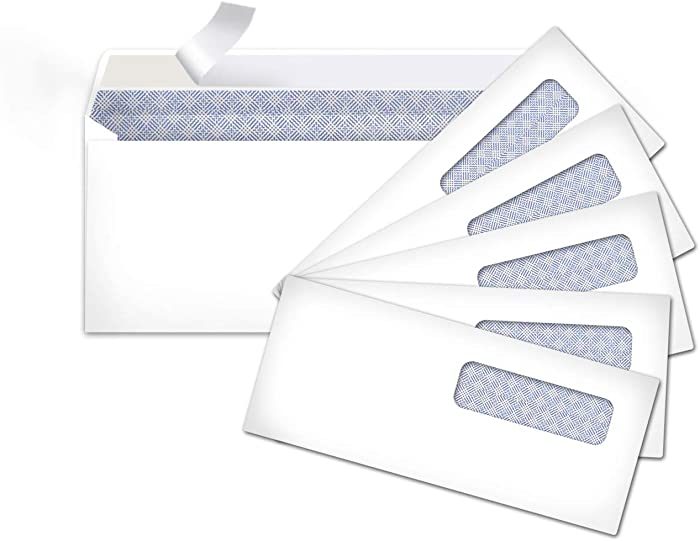 AmazonBasics #10 Security-Tinted Envelopes with Peel & Seal, Left Window, White, 500-Pack